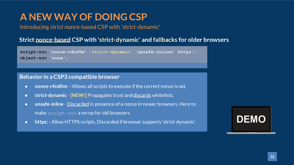31 A NEW WAY OF DOING CSP Introducing strict no...