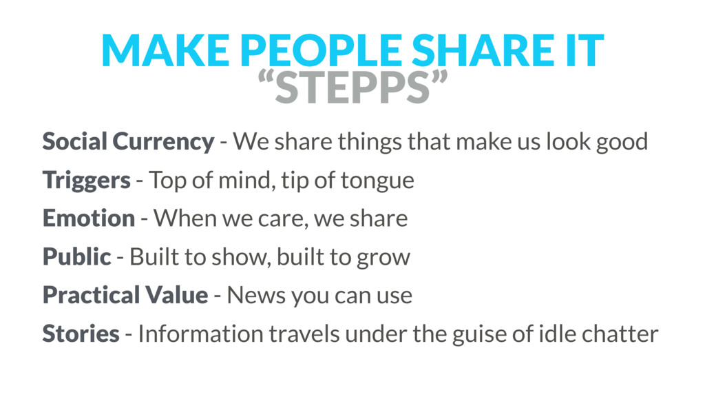 """MAKE PEOPLE SHARE IT """"STEPPS"""" Social Currency -..."""