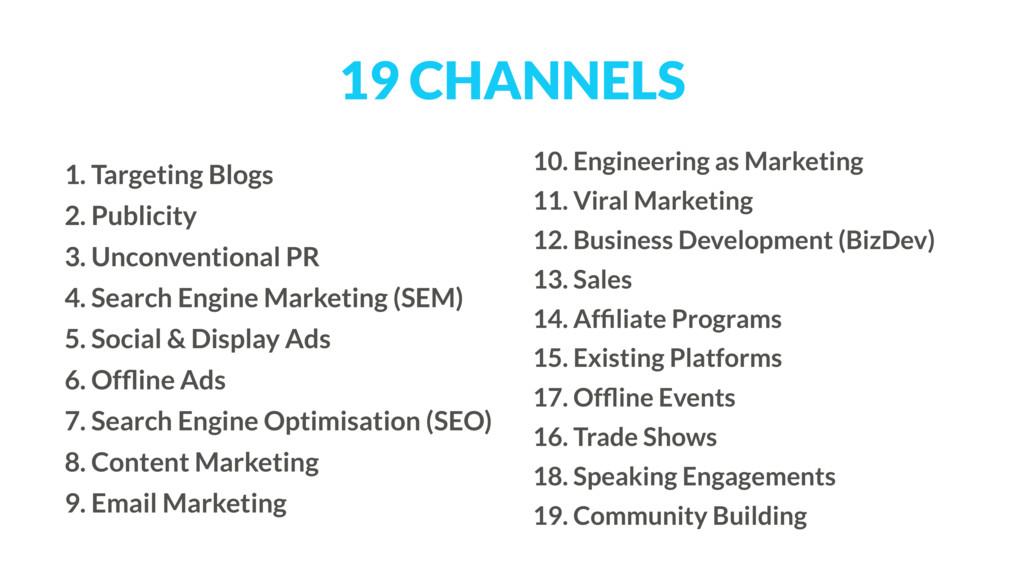 19 CHANNELS 1. Targeting Blogs 2. Publicity 3. ...