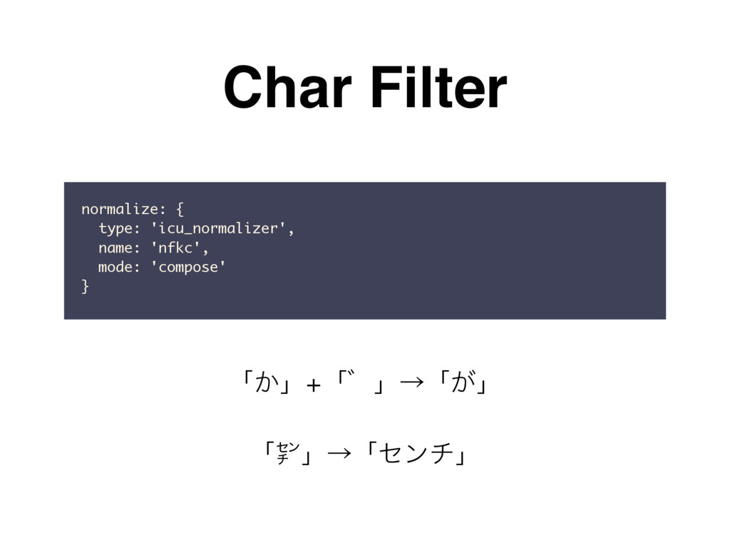 Char Filter normalize: { type: 'icu_normalizer'...