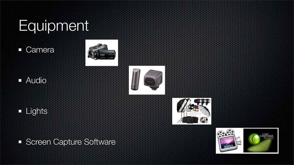 Equipment Camera Audio Lights Screen Capture So...