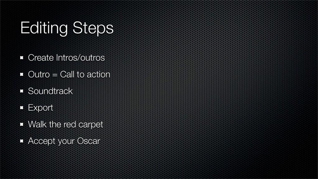Editing Steps Create Intros/outros Outro = Call...