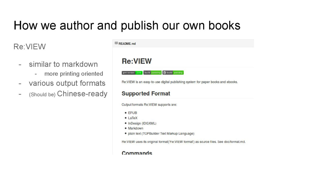 How we author and publish our own books Re:VIEW...