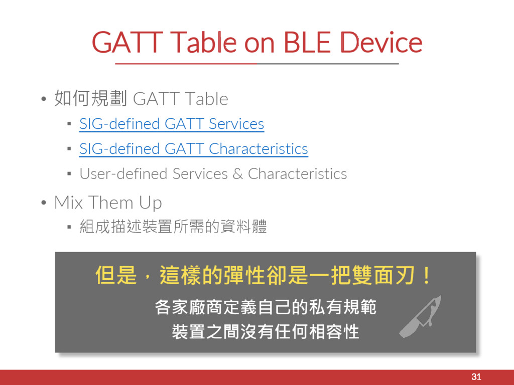 GATT Table on BLE Device • 如何規劃 GATT Table ▪ SI...