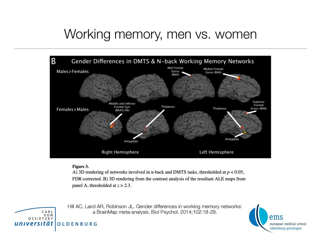 Working memory, men vs. women Hill AC, Laird AR...