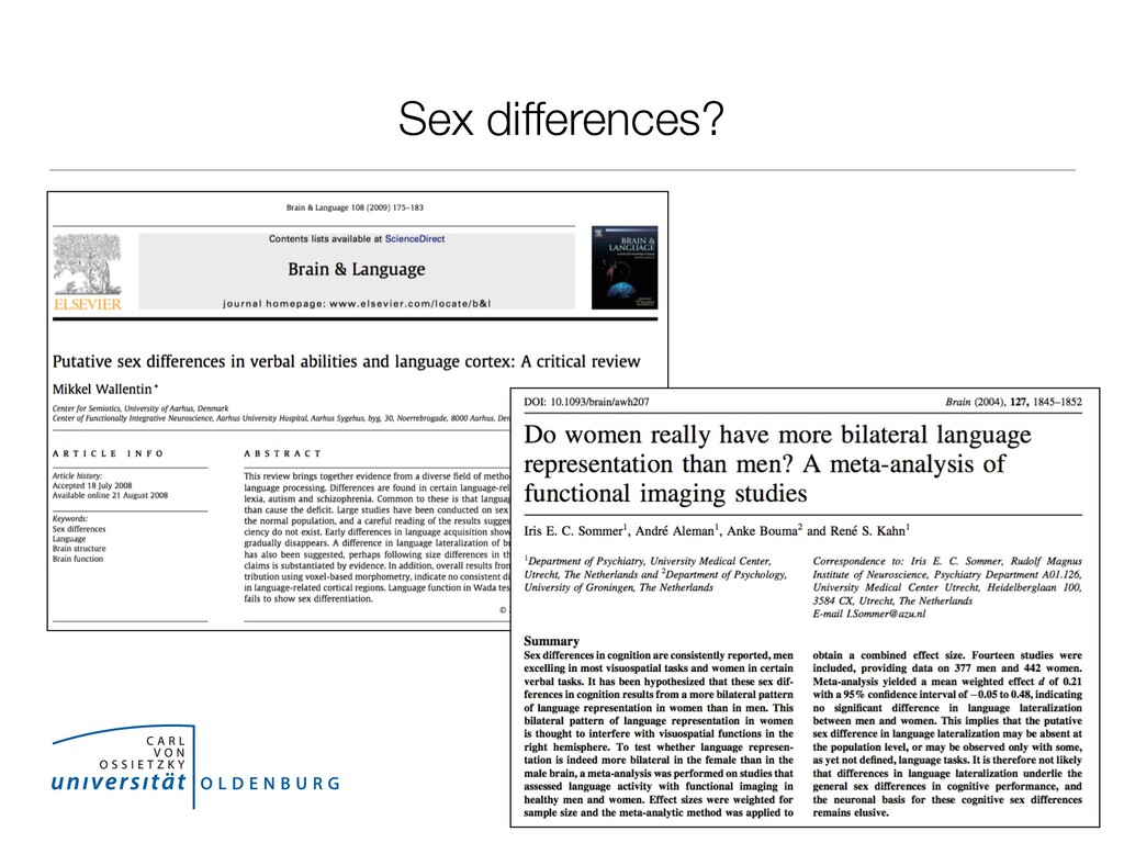 Sex differences?