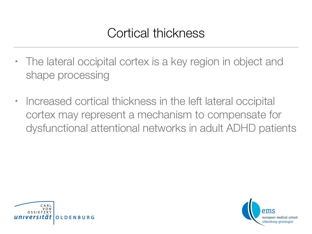 Cortical thickness • The lateral occipital cort...