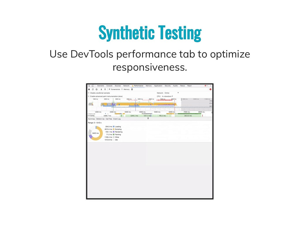 Synthetic Testing Synthetic Testing Use DevTool...