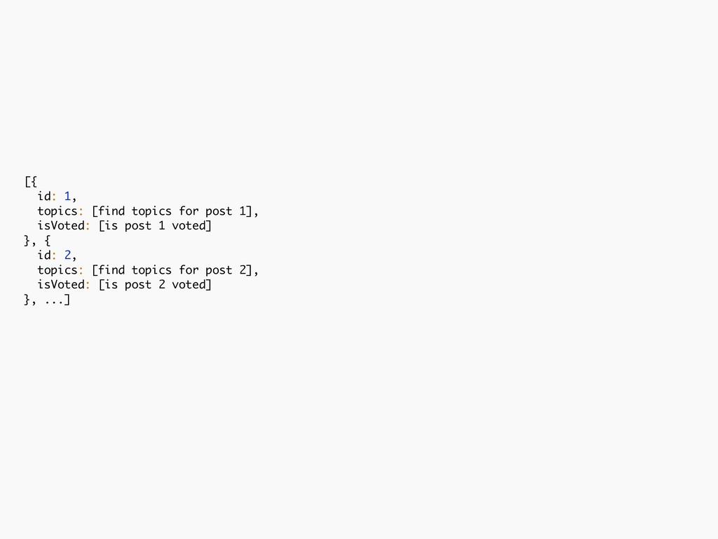 [{ id: 1, topics: [find topics for post 1], isV...