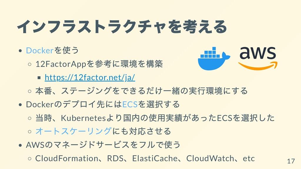 インフラストラクチャを考える Docker を使う 12FactorApp を参考に環境を構築...