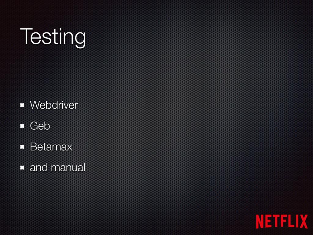 Testing Webdriver Geb Betamax and manual