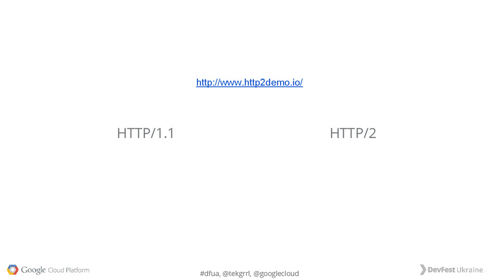 #dfua, @tekgrrl, @googlecloud HTTP/2 HTTP/1.1 h...