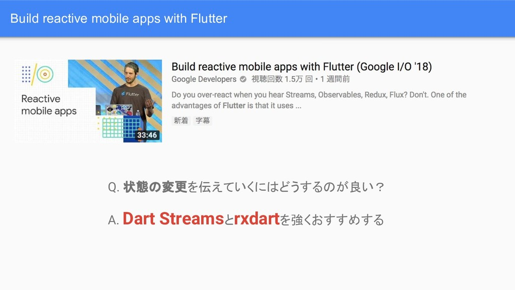 Build reactive mobile apps with Flutter Q. 状態の変...