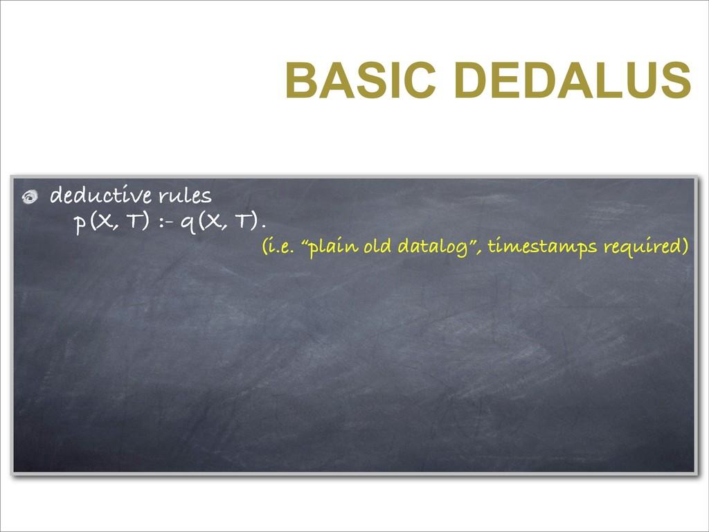 BASIC DEDALUS deductive rules p(X, T) :- q(X, T...
