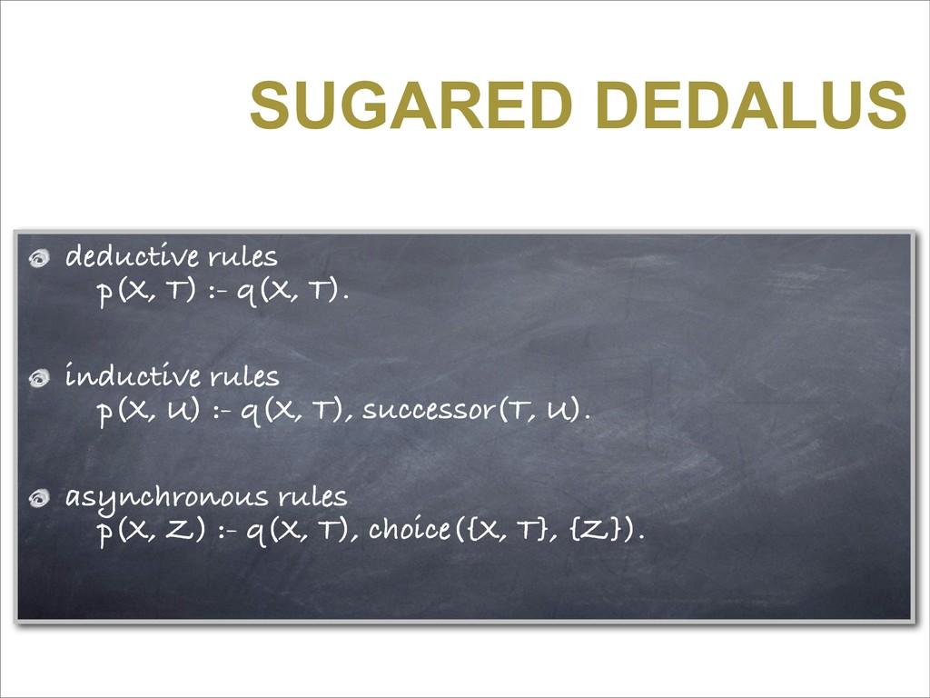 SUGARED DEDALUS deductive rules p(X, T) :- q(X,...
