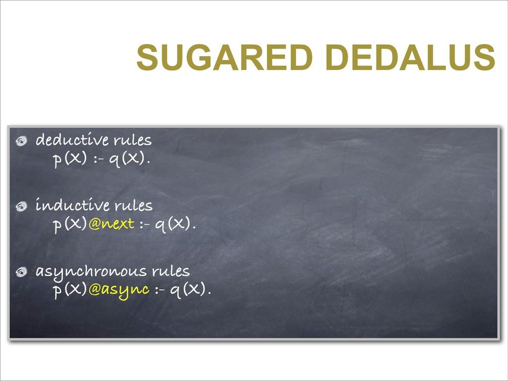 SUGARED DEDALUS deductive rules p(X) :- q(X). i...