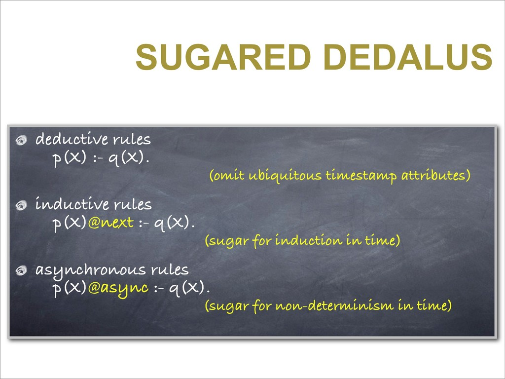 SUGARED DEDALUS deductive rules p(X) :- q(X). (...