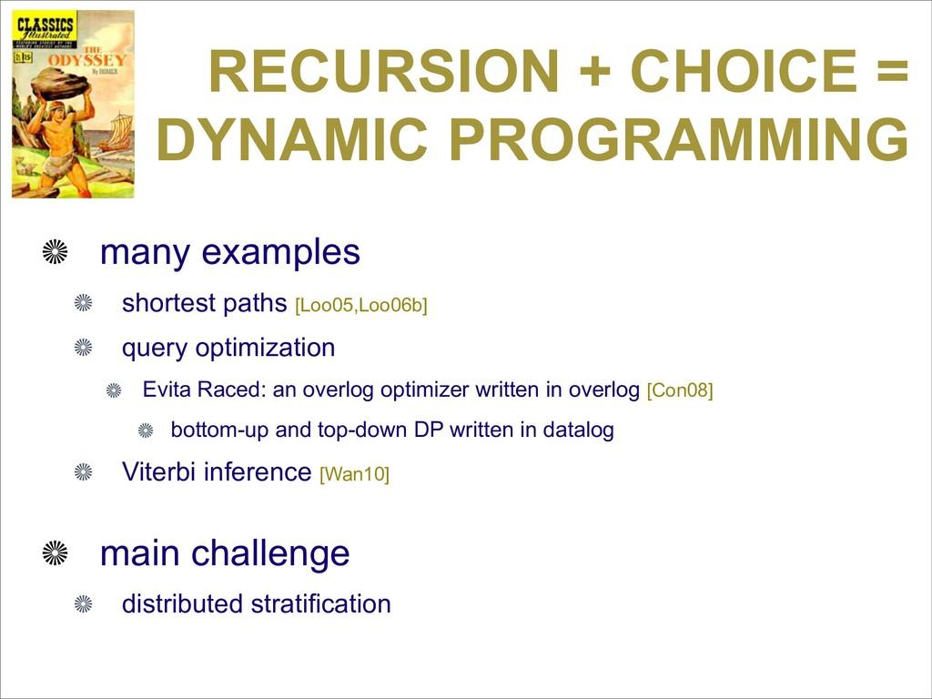 RECURSION + CHOICE = DYNAMIC PROGRAMMING many e...