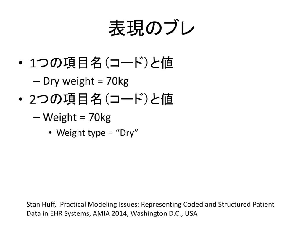 表現のブレ • 1つの項目名(コード)と値 – Dry weight = 70kg • 2つの...