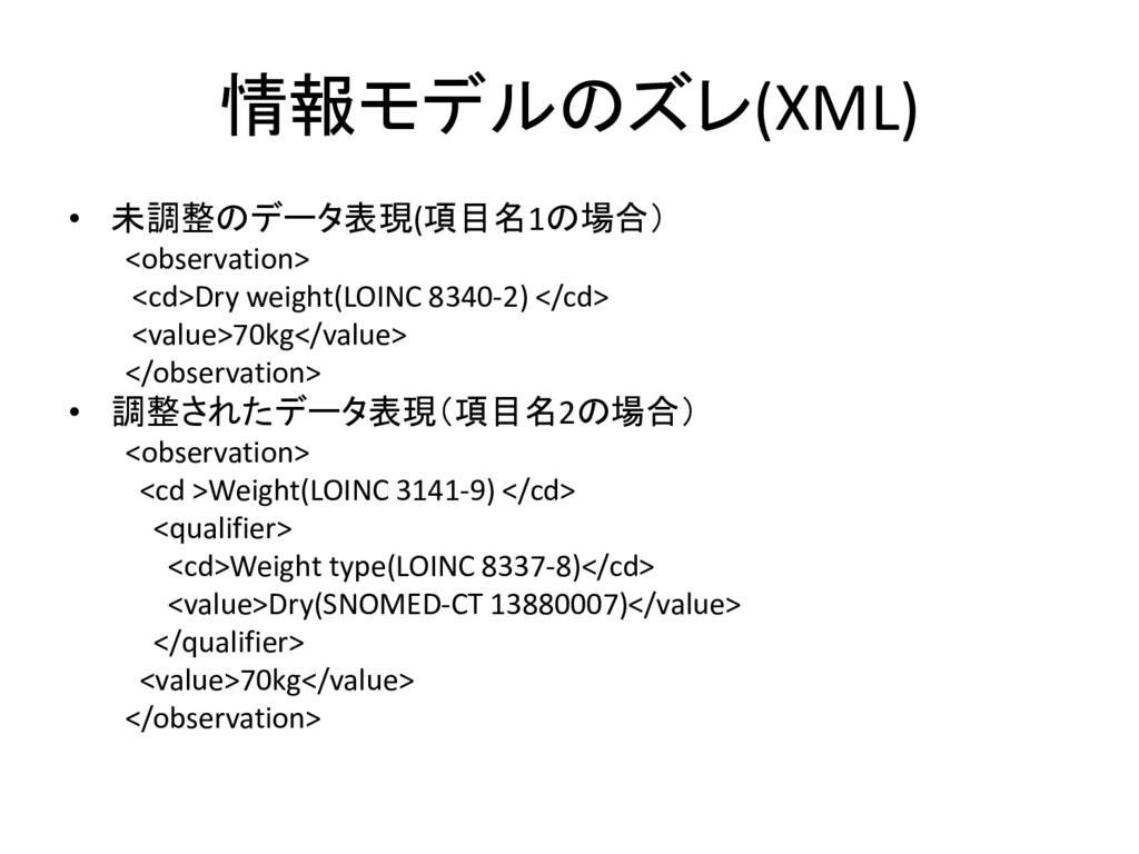 情報モデルのズレ(XML) • 未調整のデータ表現(項目名1の場合) <observation...