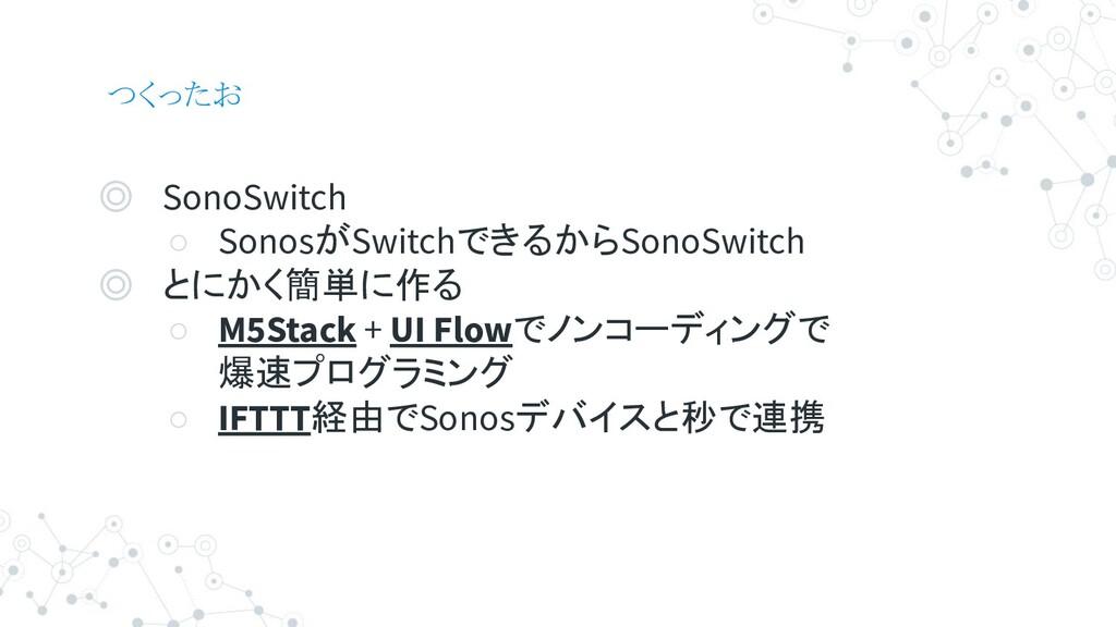 つくったお ◎ SonoSwitch ○ SonosがSwitchできるからSonoSwitc...