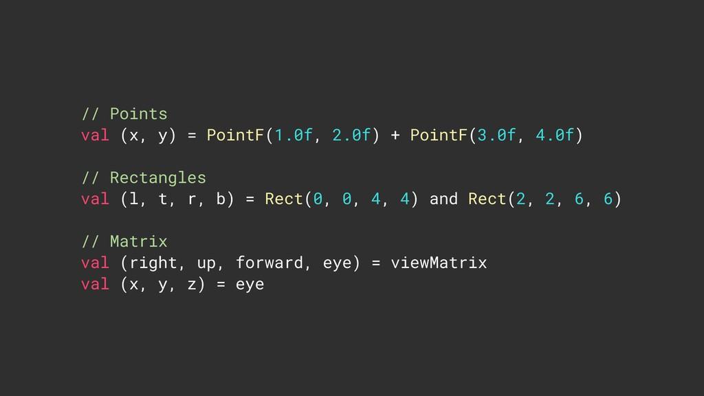 // Points val (x, y) = PointF(1.0f, 2.0f) + Po...