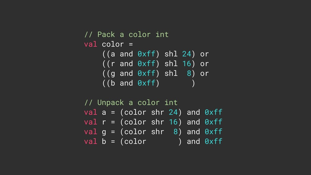 // Pack a color int val color = ((a and 0xff) s...
