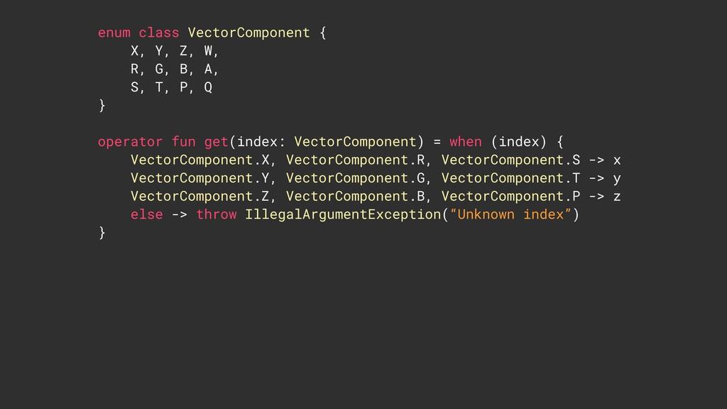 enum class VectorComponent { X, Y, Z, W, R, G, ...