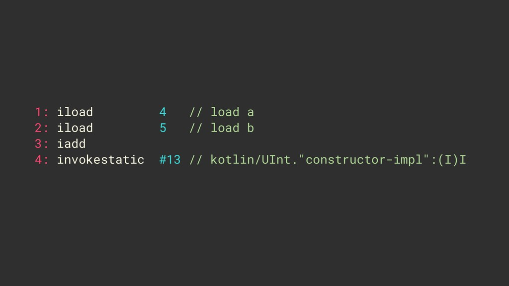 1: iload 4 // load a 2: iload 5 // load b 3: ia...