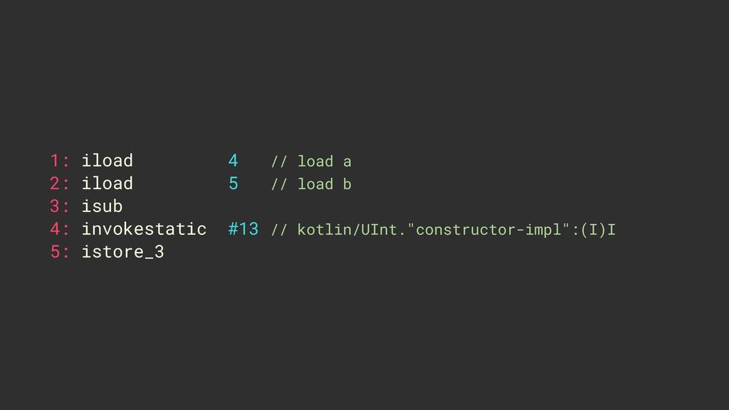 1: iload 4 // load a 2: iload 5 // load b 3: is...