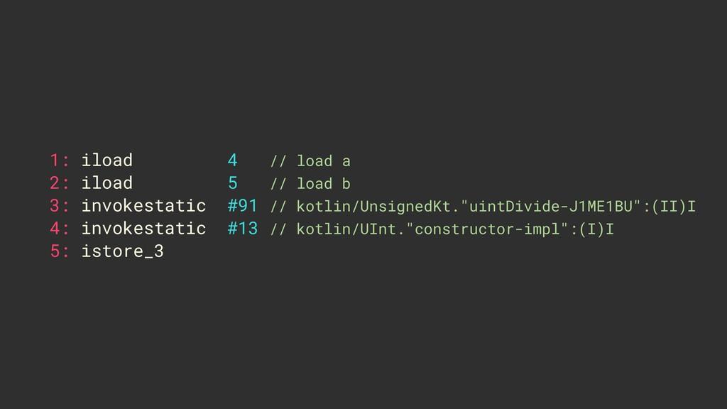 1: iload 4 // load a 2: iload 5 // load b 3: in...