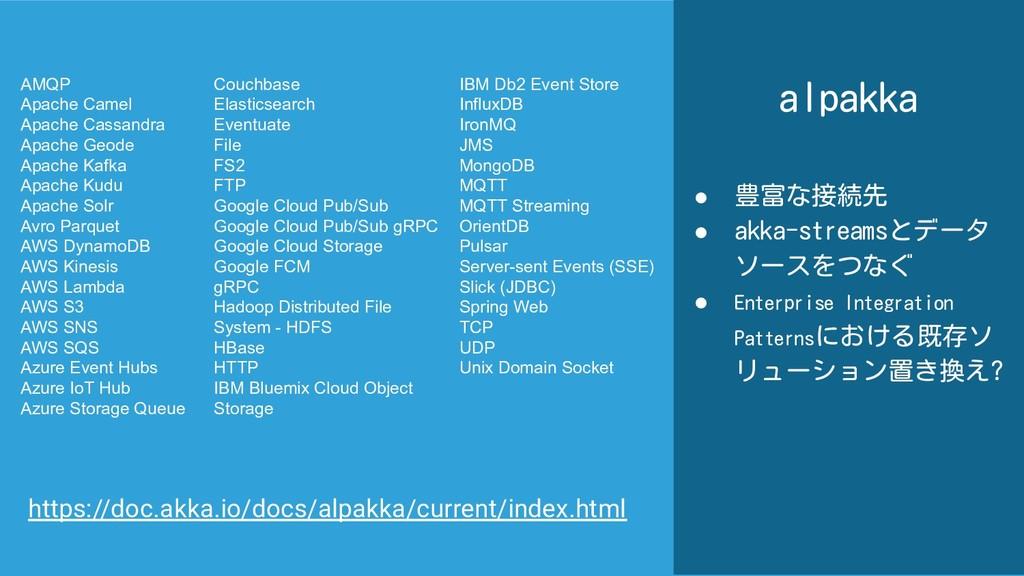alpakka ● 豊富な接続先 ● akka-streamsとデータ ソースをつなぐ ● E...