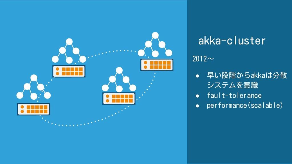 akka-cluster 2012~ ● 早い段階からakkaは分散 システムを意識 ● fa...