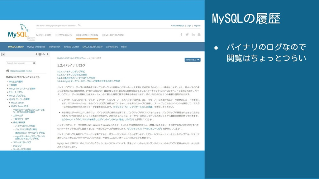 MySQLの履歴 ● バイナリのログなので 閲覧はちょっとつらい