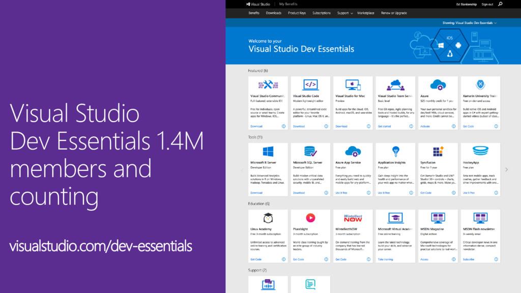 Visual Studio Dev Essentials 1.4M members and c...
