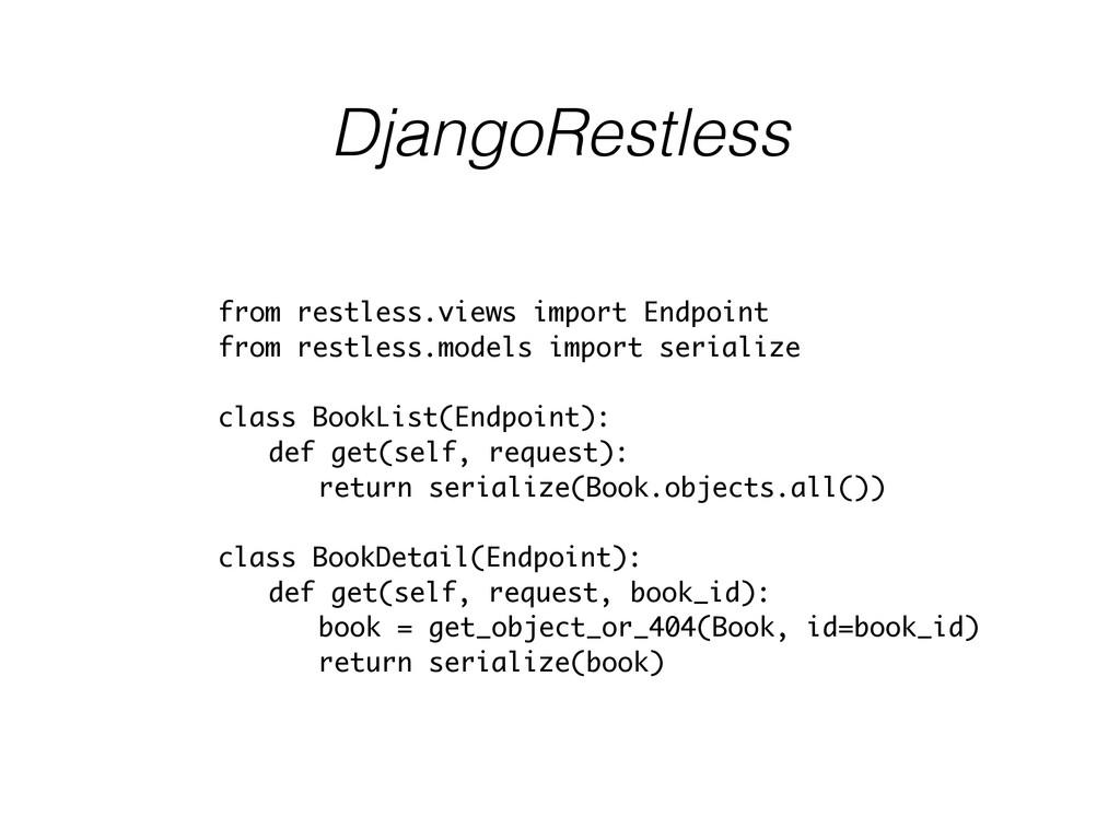 DjangoRestless from restless.views import Endpo...
