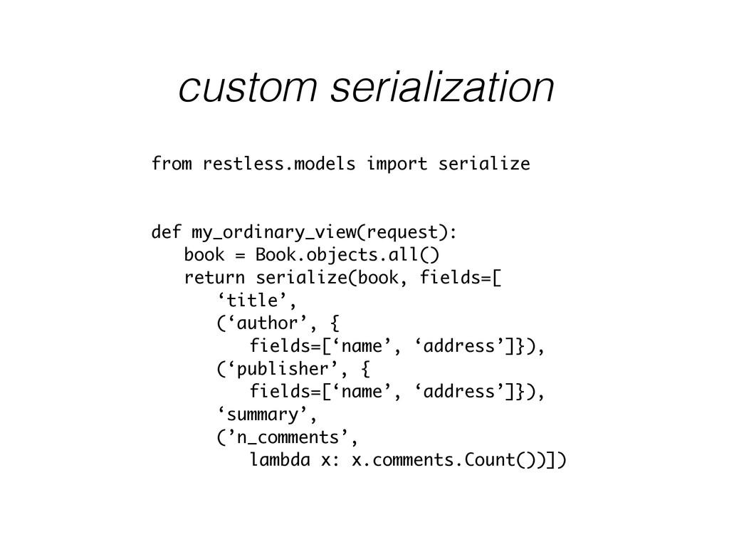 custom serialization from restless.models impor...