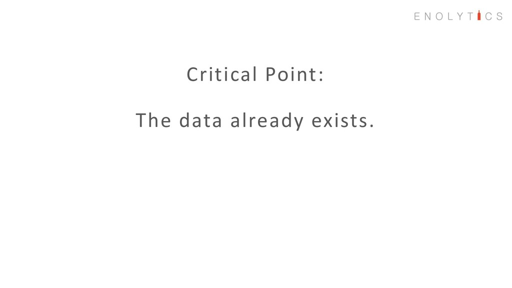 Critical Point: The data already exists.