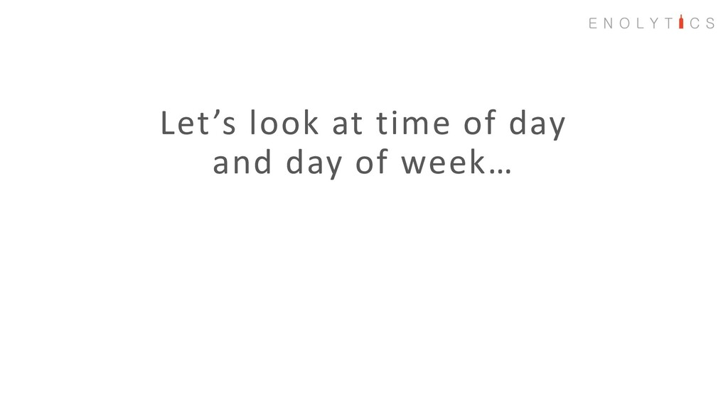 Let's look at time of day and day of week…