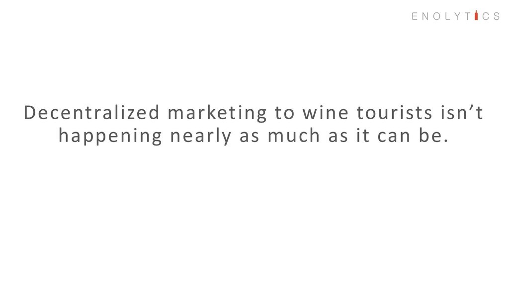 Decentralized marketing to wine tourists isn't ...