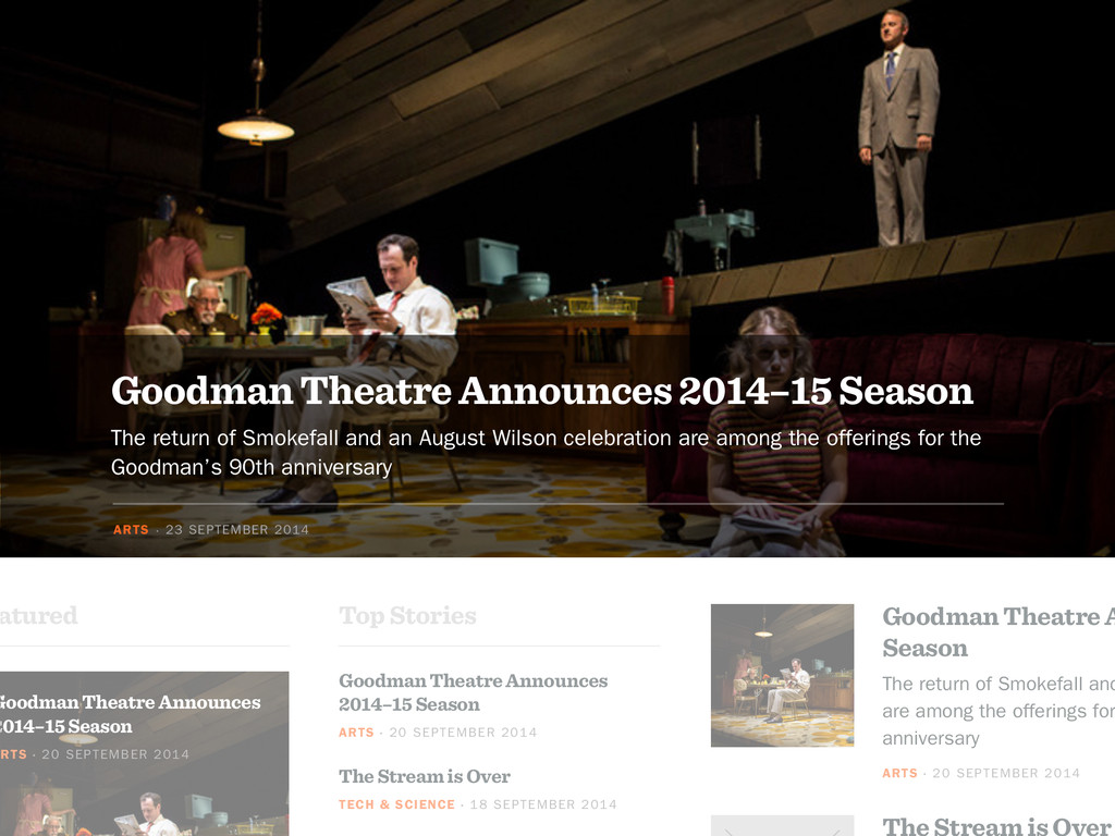 The Stream is Over Goodman Theatre A Season The...