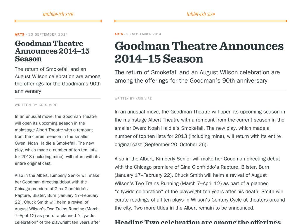 ARTS · 23 SEPTEMBER 2014 Goodman Theatre Announ...