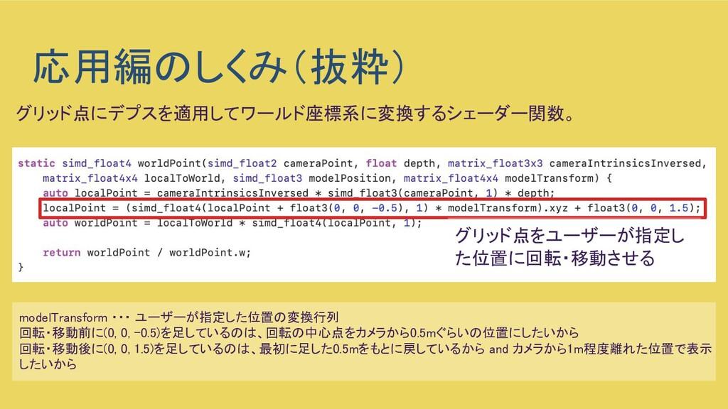 応用編のしくみ(抜粋) modelTransform ・・・ ユーザーが指定した位置の変換行...