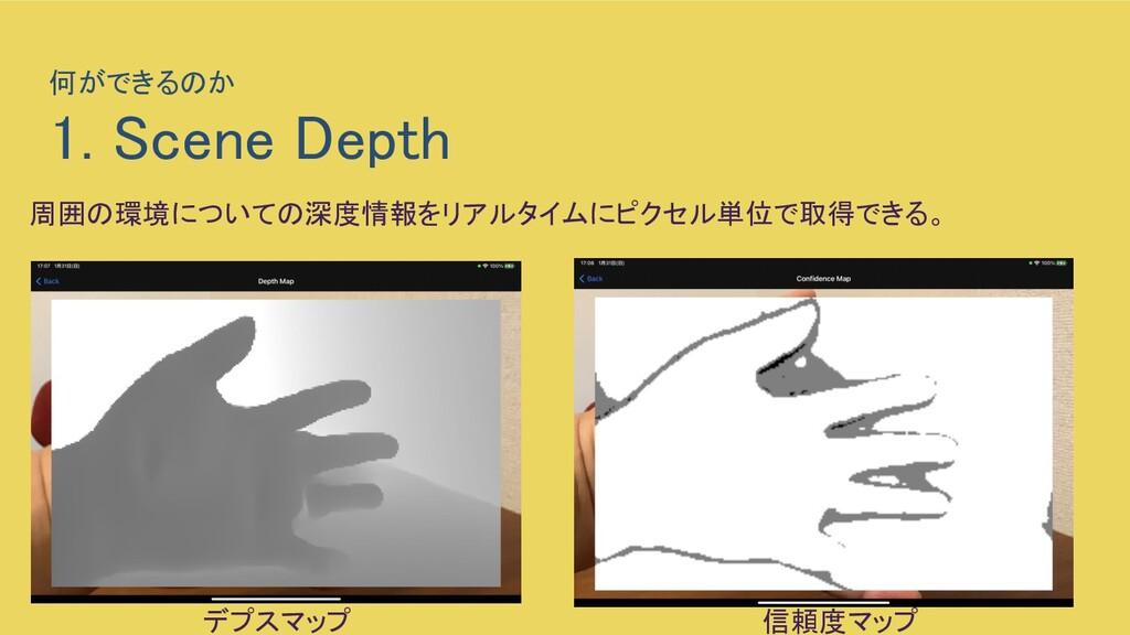 何ができるのか  1. Scene Depth 周囲の環境についての深度情報をリアルタイム...