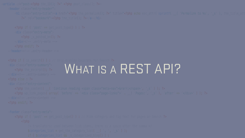 WHAT IS A REST API?