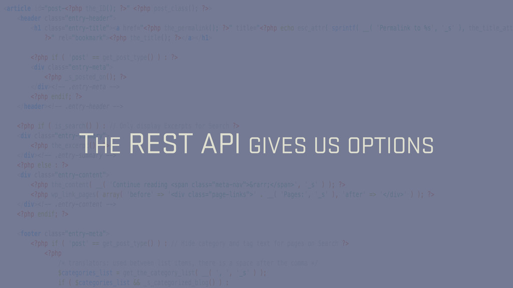 THE REST API GIVES US OPTIONS