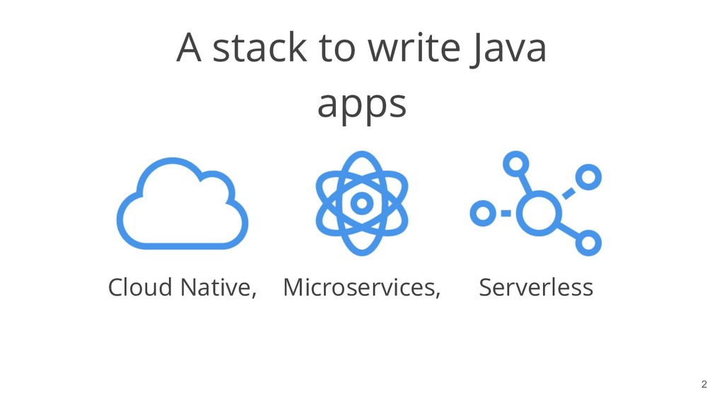 !2 A stack to write Java apps Cloud Native, Mic...