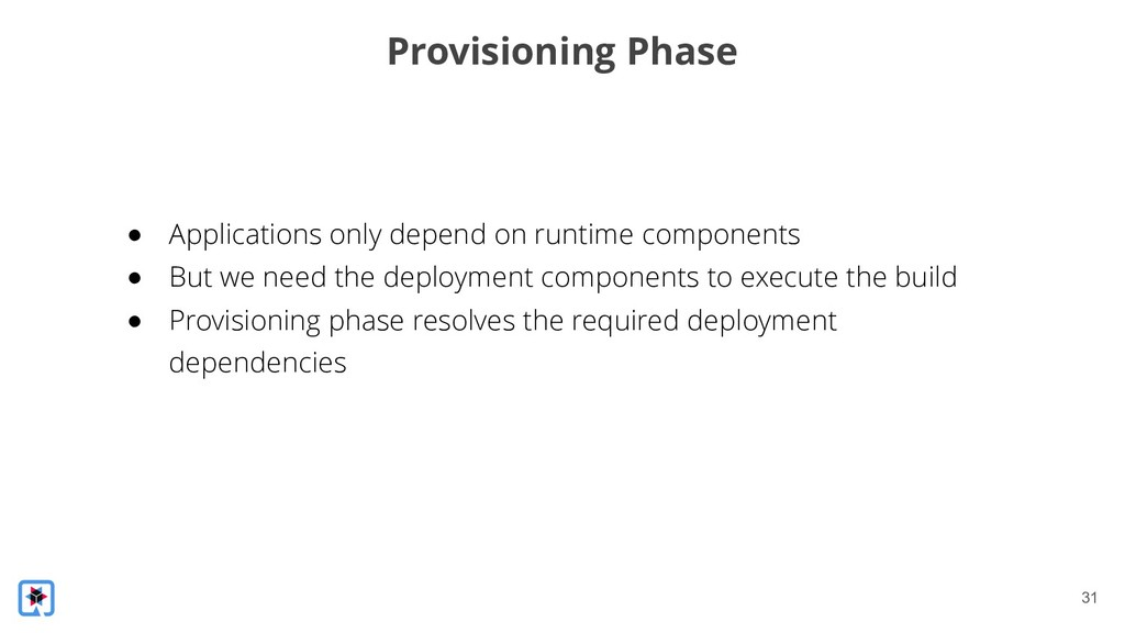 !31 Provisioning Phase ● Applications only depe...