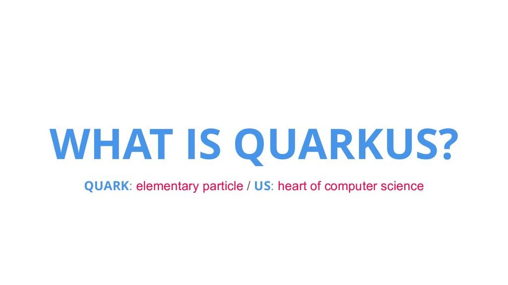 WHAT IS QUARKUS? QUARK: elementary particle / U...