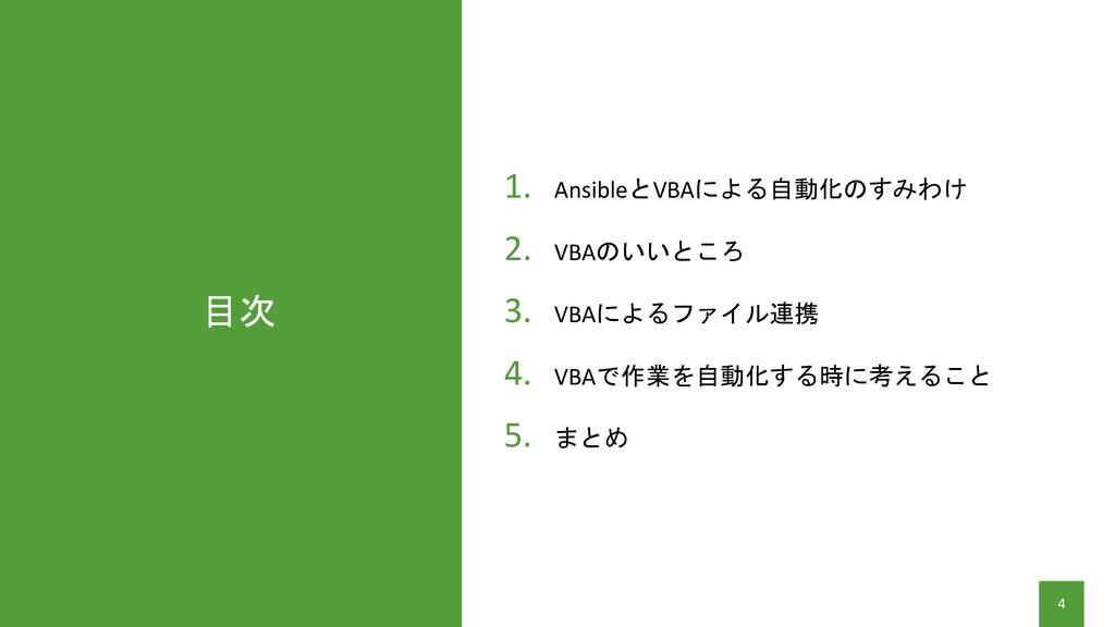 目次 4 1. AnsibleとVBAによる自動化のすみわけ 2. VBAのいいところ 3. ...